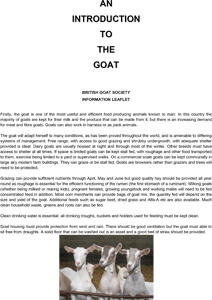 An introduction to the goat
